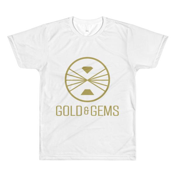 Sublimation men's crewneck t-shirt gold